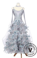Silver Daffodils Waltz Foxtrot Standard Smooth Competition Ballroom Gown with Pearl (Venus Dancewear) Tags: ballroomdress ballroomdancedress latindress dancewear ballroom competition dress venus dresses dance