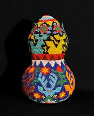 Huichol Beadwork Gourd Mexico Deer (Teyacapan) Tags: venado deer gourd mexico artesanias crafts wixarika huichol chaquira beadword