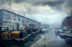 Fogged In Harbour (jarr1520) Tags: sky cloud fog mist harbour boats textured wharf reflections