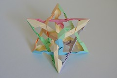 """""""Illusory Pentagons"""" Two Notched Tetrahedrally Distorted Skew Rhombic Hexahedra (Byriah Loper) (Byriah Loper) Tags: origami origamimodular modularorigami modular byriahloper paperfolding paper polygon polyhedron"""