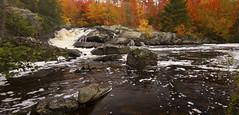 Autumn at Foster Falls (maryanne.pfitz) Tags: fosterfalls ironcounty wisconsin landscape nature fall autumn fallfoliage rocks boulders mapfoster35513552pano maryannepfitzinger