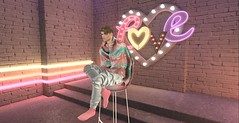 You Are Not Pizza (Yusuf Armani) Tags: love pink colorful rainbow backdrop boy man guy gay lgbt inside sl secondlife ll lindenlabs virtual avatar single chair sitting romantic seductive romance seduce