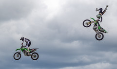 Flyer biker. (CWhatPhotos) Tags: cwhatphotos flickr summer 2019 day photographs photograph pics pictures pic picture image images foto fotos photography artistic that have which contain olympus durham police bikewise bike wise motorcycle motorbikes motorbike fly flying sky clouds stunt kawasaki green bikers