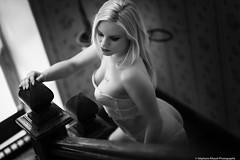 Linoa--15 (tag71) Tags: portrait woman sexy art girl monochrome canon glamour underwear noiretblanc femme indoor lingerie nb beauté blonde boudoir shooting amateur escalier personne intérieur sensuel lumièrenaturelle modèle 85mmf12liiusm 5dmarkiii blackwhite bnw