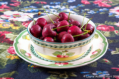 20190722Cherries!!29815-Edit (Laurie2123) Tags: fujixt2 fujinon1855mm laurieturnerphotography laurietakespics laurie2123 odc ourdailychallenge cherries offcameraflash ad200 villeroyboch frenchgarden
