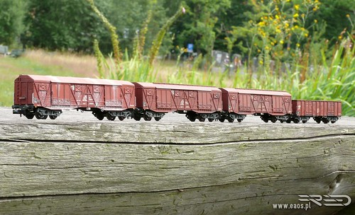Small series photoetched models. Three Polish box cars type 401Ka Gags-t and one Eaos 408W. Every cars in era IVc (80's).