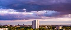 Monument in violet sunset (Kot Orator) Tags: city landscape poland sunset clouds panorama sun buildings trees park sony alfa a7ii urban poznan summer 2019 postcommunist helios helios44m 58mm vintage