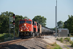 CN3883EastTroyWI7-13-19 (railohio) Tags: cn trains easttroy honeycreek waterford wisconsin 071319 d750 et44ac tier4 cn100 signals