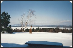 c. 1980 Valley Photo Ceramics Postcard - Over Looking the Ottawa River during the Winter at Canadian Forces Base Petawawa, Ontario, Canada (Treasures from the Past) Tags: valleyphoto valleyphotoceramics villageofpetawawa petawawa ontario canada cfbpetawawa canadianforcesbasepetawawa ottawariver