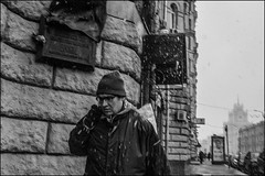 5_DSC4989 (dmitryzhkov) Tags: life city urban public place outdoor candid photojournalism documentary social stranger human everyday street people blackandwhite bw snow man monochrome humanity russia moscow streetphotography snowfall badweather mankind dmitryryzhkov