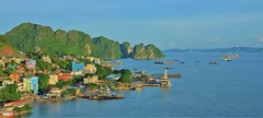 Bus station and Hon Gai port (khoitran1957) Tags: seascape landscape travel quangninh vietnam 219 ultrawide widescreen wide wallpaper