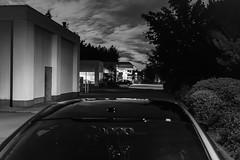DSCF4623 (FNshutter) Tags: x100f fujifilmx100f lights shell gas station dusk cars shadows trees clouds monochrome millbay bc vancouverisland west