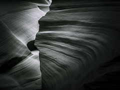 Sandstone Edge - Toned B&W (byron bauer) Tags: byronbauer blackwhite duotone navajo sandstone slot canyon wall page arizona texture rock wind water erosion sediment filtered light american southwest toned elitegalleryaoi