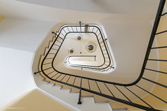 The Three-Eyed Alien (bjoernahrensfotografie) Tags: münchen munich architecture architektur lookup minimal abstract abstrakt stairs staircase treppe treppenhaus escalier spiral canon canoneosr