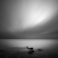 Dreaming into the Approaching Night (Bernd Walz) Tags: sea seascape rocks beach dusk evening silence calmness longexposure minimalism minimalistic fineart blackandwhite bnw bw monochrome