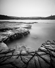 Kimmeridge Bay (Adam Clark Photography) Tags: countryside camera wave sea seascape shadow shoot summer square monochrome mono day development darkroom details developed dark depth white water sky shootfilm sharp shore nature tones art light landscape bw blackandwhite black bronica beach flickr explore whiteandblack