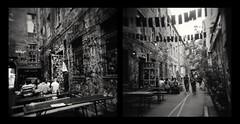 Berlin - Hackesche Höfe (Diaffi) Tags: rollfilmweek daytwo analog holga120cfn ilforddelta400professional mediumformat 6x6 diptych selfdeveloped rodinalstanddevelopment film120 expiredfilm berlin monochrome blackandwhite architecture lomography hackeschehöfe street ishootfilm