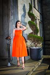 IMG_7765 (Cauther Photography) Tags: beautiful scottish brunette model orange fashion dress heels woman castle canon glamour portrait beauty people