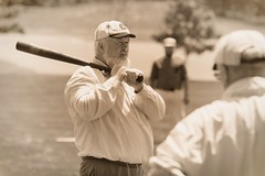 Vintage Baseball, Cantigny Park. 52 (EOS) (Mega-Magpie) Tags: canon eos 60d outdoors game sports vintage baseball cantigny park wheaton dupage il illinois usa america sepia players men guy dude fella people person bat