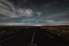 - Strasse zum Bifröst - (verbildert) Tags: aurora northern lights iceland street night stars clouds moonlight