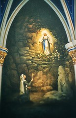 South Bend  - Indiana -  Basilica of the Sacred Heart in Notre Dame - The Grotto of Our Lady of Lourdes Mural (Onasill ~ Bill Badzo - 67 M) Tags: basilica scared heart in indiana high altar notredame university romancatholic catholic gothic church architecture style tourist attraction site paris original neogothic onasill nrhp revival unitedstates southbend grotto he our lady lourdes mural sacred notre dame old vintage photo mary virginmary stjoseph county
