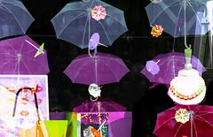Flying brollies and parasols (Gill Stafford) Tags: gillstafford gillys image photograph wales northwales gwynedd umbrellas bangor parasols shop window artscape