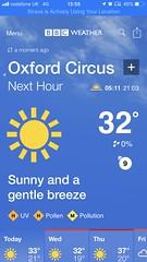 Blimey (Steve Bowbrick) Tags: temperature weather climate heatwave heat anthropocene climatechange globalwarming screenshot iphone ios bbcweather meteorology