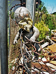 Escape (skipmoore) Tags: doll chainlink fence junk