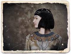 Cleopatra - an italian friend (Gregory Cocco) Tags: girl costume woman portrait necklace jewelry profile queen ancient egypt cleopatra brunette sexy intriguing italy rimini italian rework paint model serius sad deep old fashon