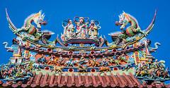 2019 - Taiwan - Kaohsiung - 10 - Tzu Chi Palace (Ted's photos - For Me & You) Tags: 2019 cropped kaohsiung nikon nikond750 nikonfx taiwan tedmcgrath tedsphotos vignetting bluesky blue tzuchipalace palace lotuslake lotuspond lianchilake colorful colourful