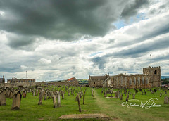 SJ2_0693 - St. Mary's Church, Whitby (SWJuk) Tags: swjuk uk unitedkingdom gb britain england yorkshire northyorkshire whitby church stmaryschurch gravestones graveyard coast coastal seaside wideangle bluesky clouds cloudy cplfilter 2019 jul2019 summer holidays nikon d7200 nikond7200 nikkor1755mmf28 landscape view scenery rawnef lightroomclassiccc