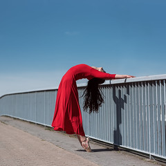 (dimitryroulland) Tags: nikon d750 85mm 18 dimitryroulland performer art artist dance dancer ballet ballerina red dress pointe paris france blue sky natural light urban street city glamour
