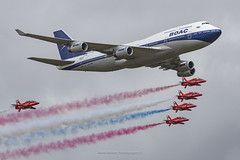 BA 747 Flypast with Red Arrows (Mark_Aviation) Tags: ba 747 flypast with red arrows boac liveried boeing 747436 gbygc 747400 rb211 british airways britishairways ba100 100 royal air forces aerobatic team the force
