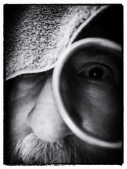 The critical eye (LeftCoastKenny) Tags: utata ironphotographer towel scissors incandescent artificiallight blackwhite bw noir utata:project=ip286 utata:description=hide selfie