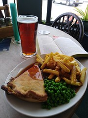 Pie, chips, peas and a beer (Tim Little) Tags: food england bitter pie gravy pub
