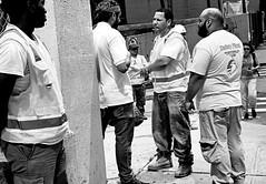 the witness (susanjanegolding) Tags: men workers construction watching bluecollar onthejob safetyvest newyorkcity blackandwhite monochrome manhattan