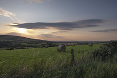 July Sunset (CatMacBride) Tags: dublin ireland sunset mountains rural city hay haybale landscape