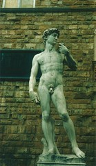 One of several copies of David in Florence - This one at the Vecchio Palace in Piazza della Signoria - Florence 2002 (2) (litlesam1) Tags: sculptures italy2002 florence piazzadellasignoria