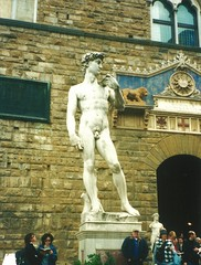 A copy of David at the Vecchio Palace - Florence 2002 (3) (litlesam1) Tags: sculptures italy2002 florence piazzadellasignoria
