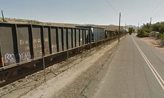 Claypool, Arizona (Midnight Believer) Tags: claypoolarizona railroad rails train twolanehighway smalltown americansouthwest boxcars gilacounty