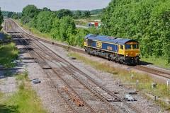 Lone Escort (JohnGreyTurner) Tags: br rail uk railway train transport 66 class66 shed freight goods brocklesby lincolnshire lincs diesel engine locomotive light
