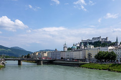 Salzach river, Salzburg old town and Festung Hohensalzburg (timnutt) Tags: x100t oldtown landscape fortress österreich river castle austria fuji city osterreichsalzburg x100 bavaria fujifilm osterreich