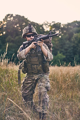 Meadow encounter (Kot Orator) Tags: military nature portrait uniforms sony alfa trees leaves summer scenes asg gun weapon m16 rifle poland poznan helios helios44m vintage replica