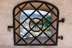 View over Salzburg (timnutt) Tags: view grate landscape österreich austria city fujifilm osterreich x100 fortress festung hole fuji bavaria x100t window frame fort osterreichsalzburg