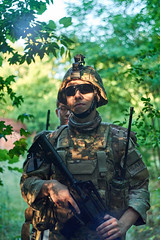 Onwards! (Kot Orator) Tags: military nature portrait uniforms sony alfa trees leaves summer scenes asg gun weapon m16 rifle helmet poland poznan helios helios44m vintage replica