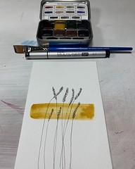 Yellow Ochre #10minsbeforebed #watercolor #scribbleart #doodle #greenleafblueberry #copicmultiliner #doitfortheprocess #carveouttimeforart