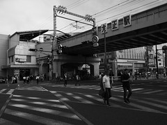 when stripes and lights cross (peaceblaster9) Tags: crosswalk street station people light shadow osaka 横断歩道 stripe ストリート 駅 人 光 影 大阪 blackandwhite bnw bw blackwhite monochrome モノクローム モノクロ 白黒