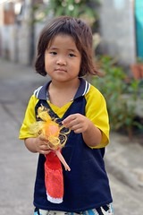 girl with her yellow haired doll (the foreign photographer - ฝรั่งถ่) Tags: girl child blond haired doll khlong lard phrao portraits bangkhen bangkok thailand nikon d3200