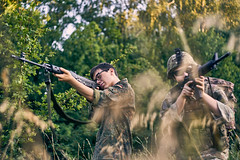 Spotted! (Kot Orator) Tags: military nature uniforms guns m16 swd helmet grass forest helios helios44m scene males models sony alfa vintage aiming weapon asg rifle leaves sunset summer poland poznan europe