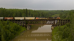 Kis-Kan-Ti-Naw (Trevor Sokolan) Tags: peaceriverd britishcolumbia canada kiskantinaw river howe truss bridge trestle c408m cowl c449w dash8 dash9 ge generalelectric diesel locomotive local freight grain hopper hoppers water forest bc branchline branch canadian cn cnr canadiannational railway railroad railfan rail railfanning trains train trainspotting tracks